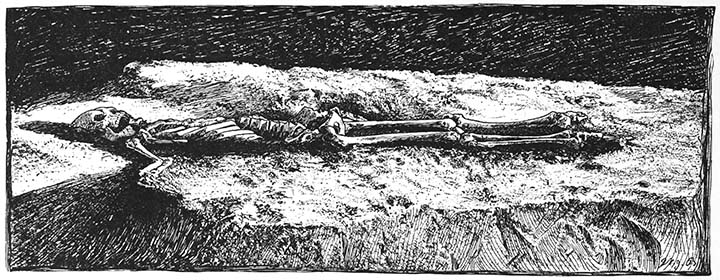 Skeleton on ash bed at bottom of conical mound.
