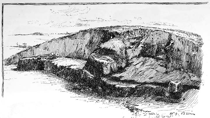 Section of conical mound, showing intrusive burials.